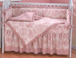 Girl Modern Mod Daisy Brown Pink Baby Crib 8 PC Bedding