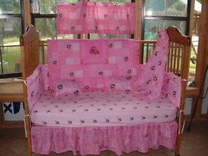 New Custom 6pc Pink John Deere Nursery Crib Bedding Set