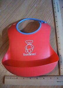 Baby Bjorn Soft Bib Catcher Red Toddler Feeding Easy Clean Up Made in Sweden