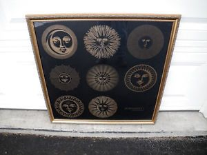 RARE Vintage Fornasetti Designer of Dreams Silk Screen Print Framed Sun Faces