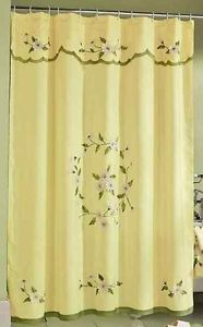 Daisy Flower Floral Bathroom Shower Curtain Yellow Green Bath Mat Accessory Set