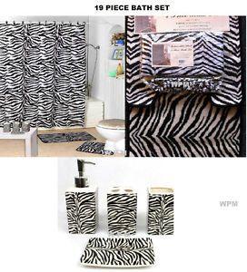19 Piece Bath Accessory Set Black Zebra Printed Bathroom Rugs Shower Curtain