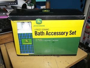 ... John Deere 4 Piece Ceramic Bath Accessory Set Cup Soap Dish Toothbrush  Lotion ...