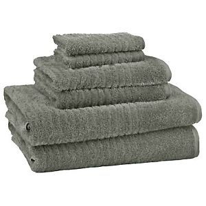 6 Piece Bath Towels Sandpiper Gray Bathroom Towel Set 100 Percent USA Cotton