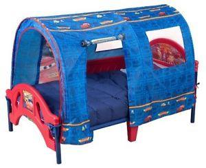 Lightning McQueen Toddler Bed Frame Boys Red Blue Kids Size 2 Safety Rails Tent