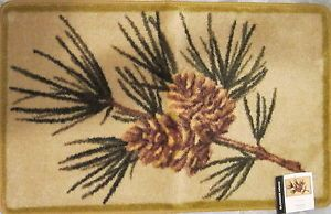 Blonder Home Wildwood Pine Cones Lodge Rustic Cabin Bath Bathroom Rug 19 7x31 5