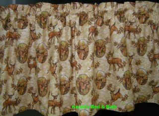 Deer Wildlife Hunting Buck Antlers Rustic Camp Khaki Brown Cabin Lodge Valance