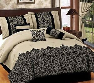 Bed in A Bag 7 Pcs Luxurious Comforter Bedding Ensemble Set Queen Beige Black