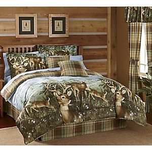 Whitetail Deer Buck Cabin Hunting Lodge Earthtone Plaid Twin Bed Comforter Set