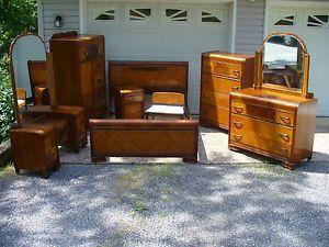 1930's Art Deco Waterfall 8 Piece Bedroom Set Bed Vanity Cedar Chest Dresser