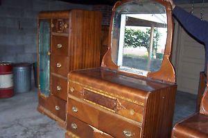 Vintage Waterfall Furniture Bedroom Vanity Dresser Wardrobe