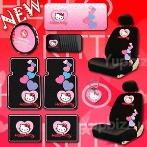 New Hello Kitty Car Seat Cover Steering Cover Mats CD Visor Sunshade Low Back