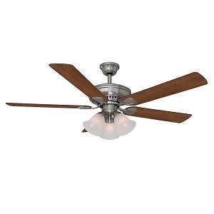 Hampton Bay Campbell 52 inch Ceiling Fan with Remote Light Kit Brushed Nickel