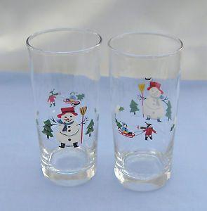 "Pfaltzgraff ""Snow Village"" Christmas Dinnerware 6 1 4"" Tumbler Glass Set of 2"
