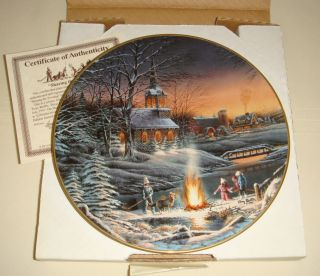 Terry Redlin Annual Christmas Sharing The Evening Masters Ed LG Plate Origbx COA