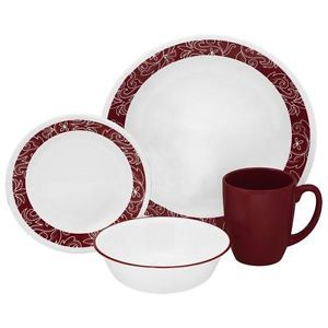 Corelle 20pc Bandhani Dinnerware Set Dinner Lunch Bread Plate Included Red White