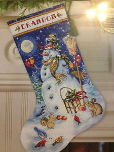 """Dimensions Gold Collection """"Snowman Friends"""" Stocking Counted Cross Stitch Kit"""