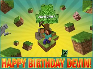 Personalized Edible Cake Frosting Image Topper B Day Supplies Minecraft Steve