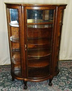 Antique Oak Bowed Glass China Curio Cabinet with Claw Feet