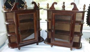 Pair Vintage Glass Wood Small Curio Display Wall Shelf Cabinet for Miniatures