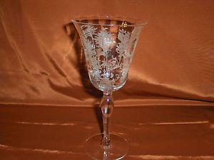 4 Vintage Etched Crystal Floral Design Wine Glass Goblet Stemware Glasses 8 Oz