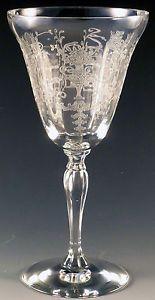Fostoria Florentine Crystal Water Goblet Vtg Stemware Etched Elegant Glass Urn