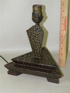 Antique Art Deco Triangle Crackle Painted Wood Table Desk Lamp
