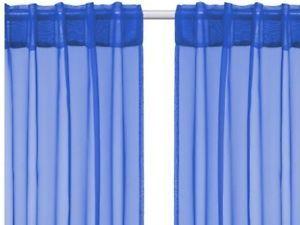 2 Panels Pair IKEA Sarita Bright Blue Sheer Curtains Drapes