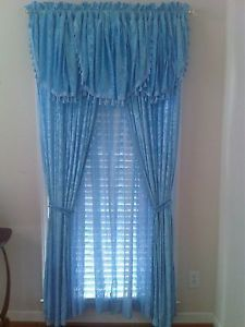 Light Blue Velvet Curtain with Valance Sheer Tassels Ties