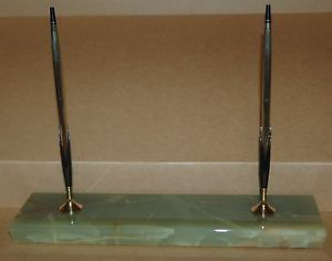 Cross Pen Desk Set w Green Onyx Pedrara Base 10K Pen and Pencil Set EUC…LQQK