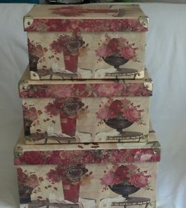 ... Tri Coastal Design Keepsake Box Storage Chests Set Of 3 Plus Desk Set  Floral ...