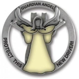 Guardian Angel Glow in Dark Visor Clip Protect New Driver Cathedral Art