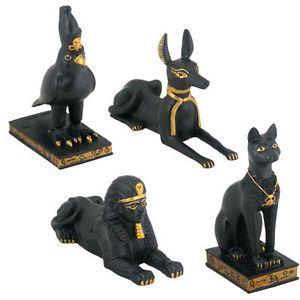 Egyptian Figurine Set Bastet Anubis Sphinx Horus 4 Figurines