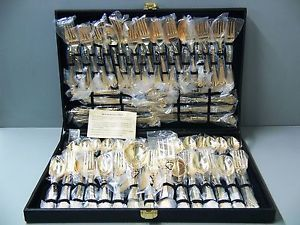 Wm Rogers Son 62 Piece Gold Plated Silverware Flatware Set SEALED in Case