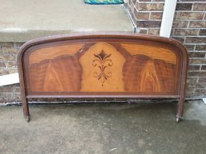 Vintage Antique Faux Woodgrain Metal Bed Frame Full Size Headboard Footboard