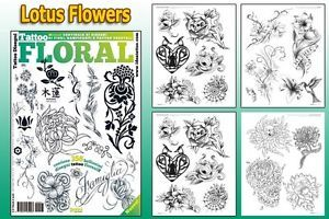 Floral Flowers Tattoo Flash Design Book 64 Pages Cursive Writing Art Supply