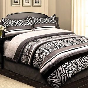 New 8PC King Queen Black and White Zebra Stripe Leopard Print Comforter Sheet