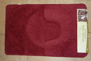 3 PC Bath Rugs Ultimate Set Bath Mat Contour Rug and Toilet Seat Cover