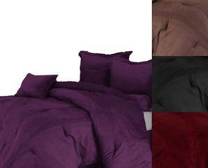 Solid Black Brown Burgundy Purple Microsuede Comforter Set Bed in A Bag New