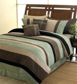 New Microsuede Queen Bed in A Bag Comforter Bedding Set
