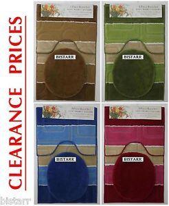 3 Piece Bath Mat Set Non Slip Pedestal Floor Bathroom Rugs Toilet Seat Cover 3pc