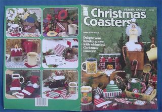 Christmas Coasters Sets Plastic Canvas Pattern Angel Santa Hat Candle Ornaments