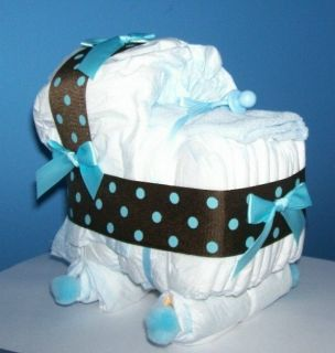 Bassinet Diaper Cake Baby Shower Decor Gift Brown Blue