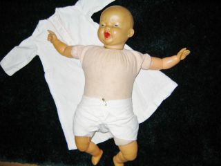 Vintage Baby Doll from The 1950's Original Gown Diaper Cloth Body Soft Vinyl