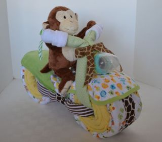 Monkey Diaper Cake Motorcycle Diaper Cake Baby Shower Gift Neutral Centerpiece