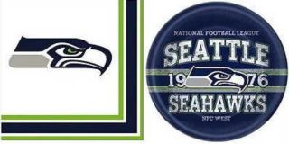 """Seattle Seahawks Football Game Day Party 16 Paper Plates 9"""" 16 Napkins Sport Fan"""