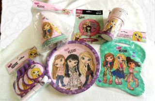 Bratz Kidz Plates Cups Hats Blowouts Loot Bags Balloons Party Set Free Shipping