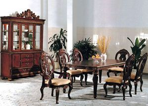 7pc Traditional Formal Cherry Wood Dining Room Table Chairs Set Furniture