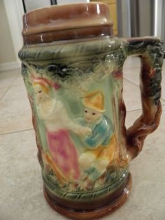 Antique German Hand Painted Beer Stein Very Detailed Unique RARE
