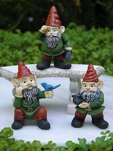 Miniature Dollhouse Fairy Garden Accessories Set of 3 Garden Gnomes New